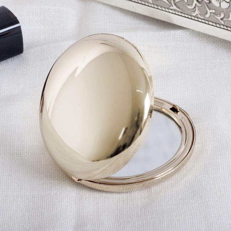 Personalised Gold Plated Round Compact Mirror product image