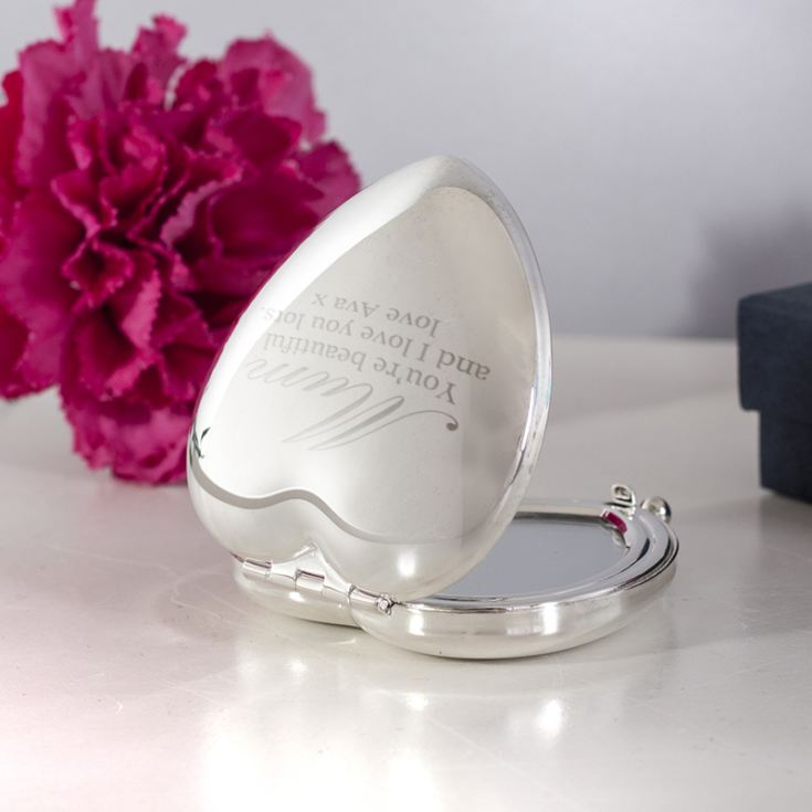 Personalised Shiny Silver Heart Mum Compact Mirror product image
