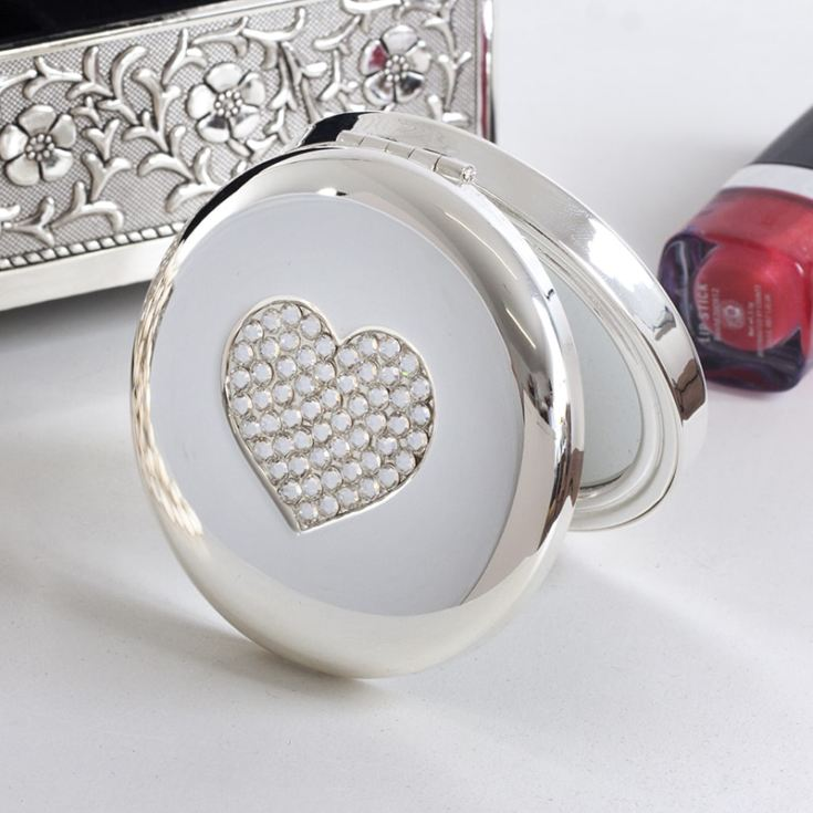 Personalised Luxury Crystal Heart Compact Mirror product image