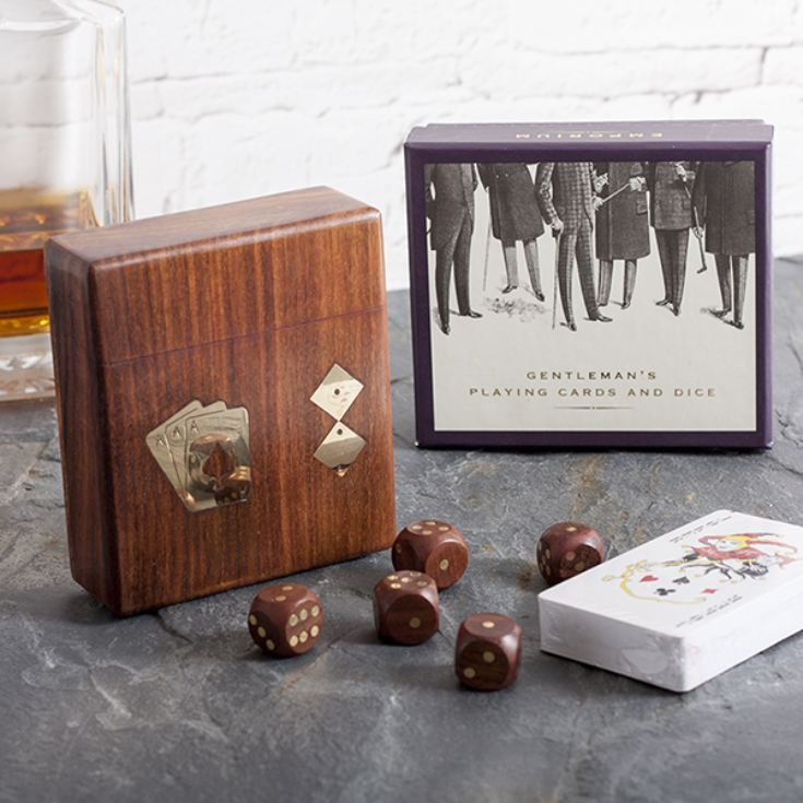 Personalised Playing Card and Dice Set In Wooden Box product image