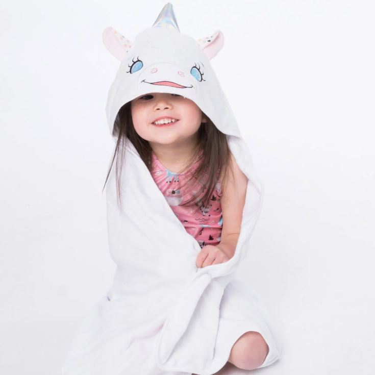 Personalised Embroidered Unicorn Hooded Towel product image