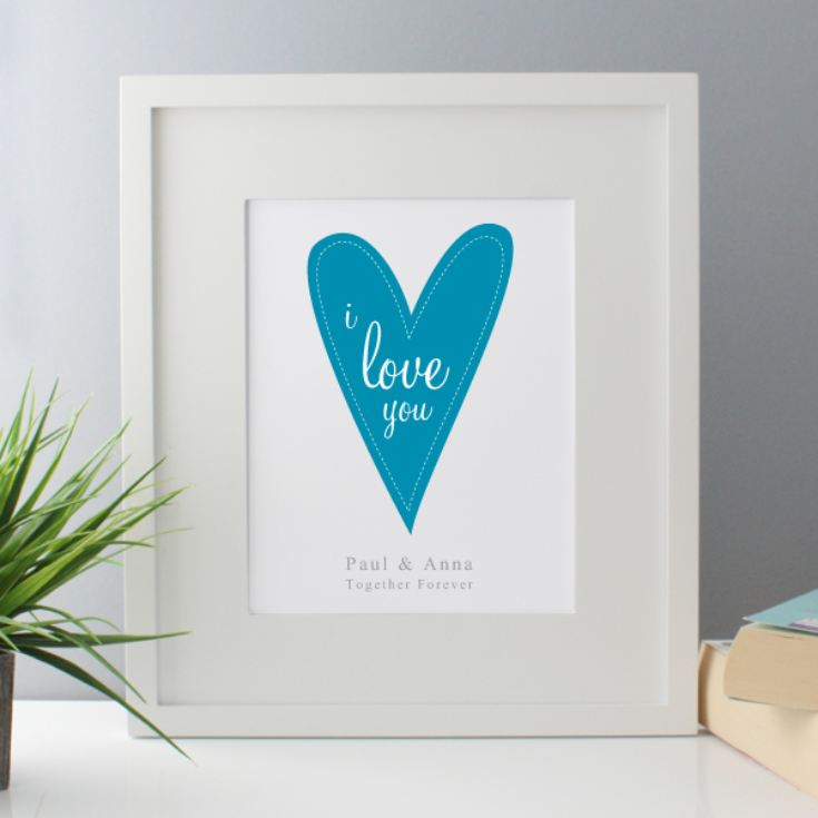 I Love You Personalised Framed Print - Blue product image
