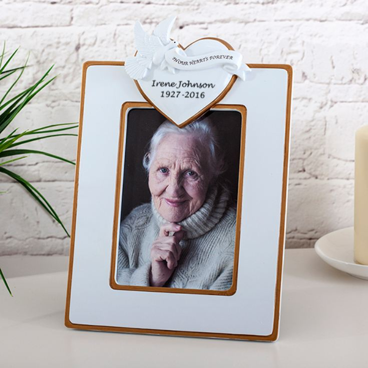 Personalised In Our Hearts Forever Dove Heart Photo Frame The