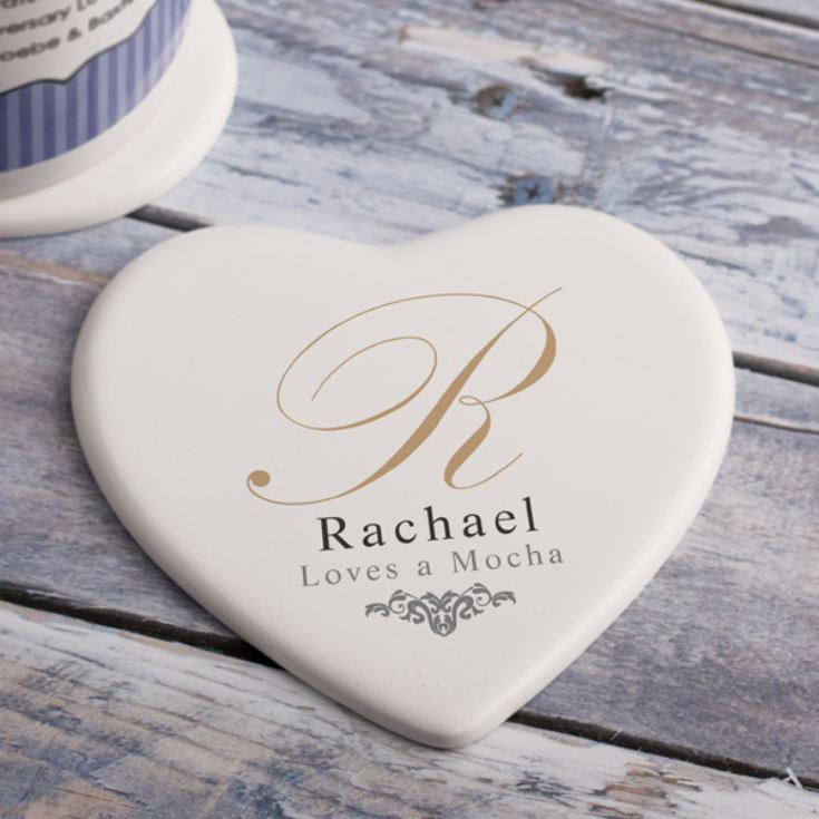 Personalised Initial Ceramic Heart Coaster product image