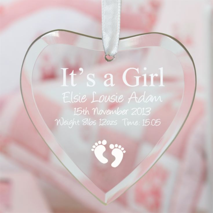 It's a Girl Personalised Glass Heart product image