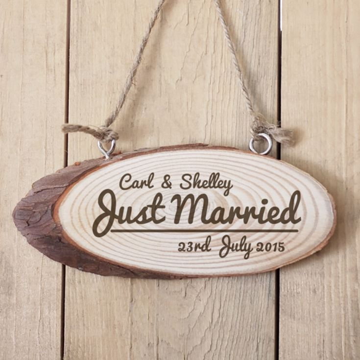 Personalised Just Married Wooden Hanging Plaque product image