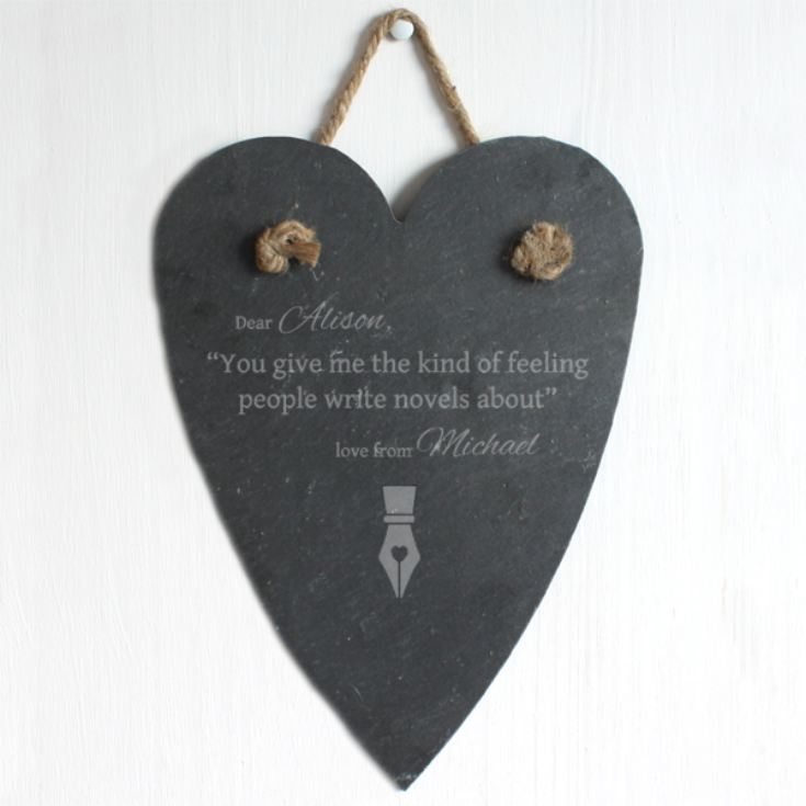 Personalised Kind Of Feeling Slate Hanging Heart product image