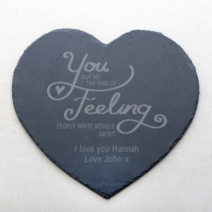 Personalised Laser Engraved Slate Heart Happy Birthday Any Name Any Age Gift