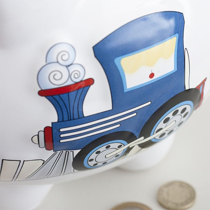 Personalised Large Piggy Bank Train Design product image
