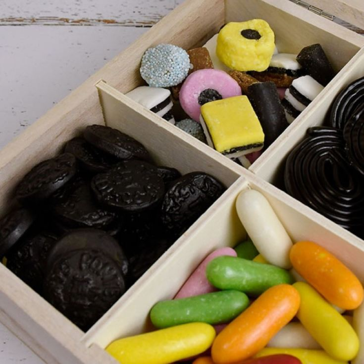 Personalised Finest Liquorice Wooden Sweet Box product image