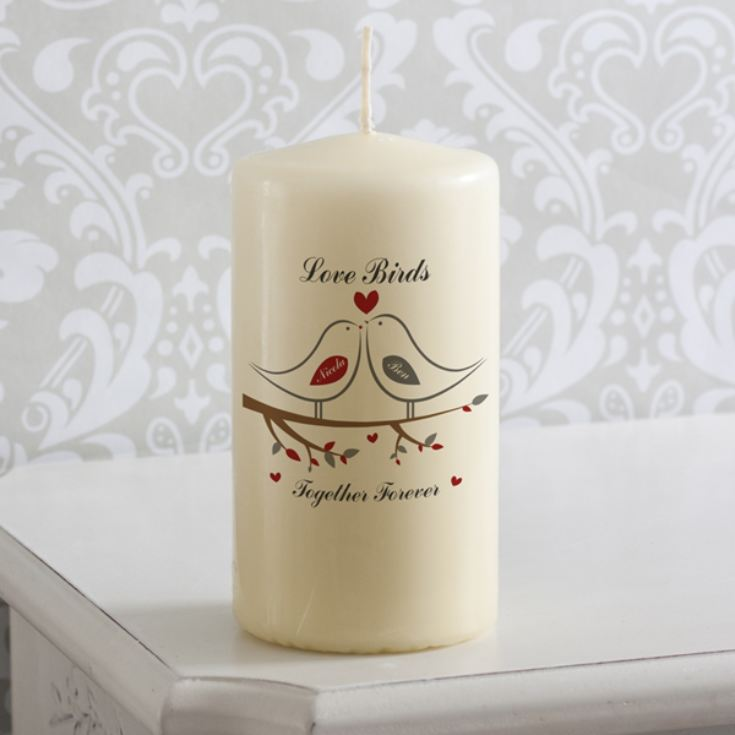 Personalised Love Birds Candle product image