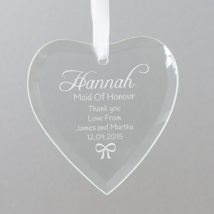 Personalised Maid Of Honour Hanging Glass Heart product image