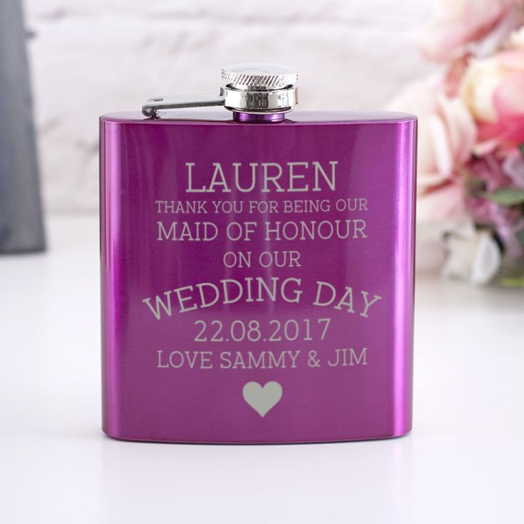 Personalised Pink Maid Of Honour Hip Flask product image