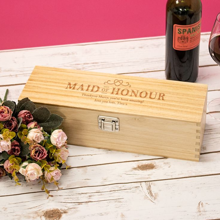 Personalised Maid Of Honour Luxury Wooden Wine Box product image