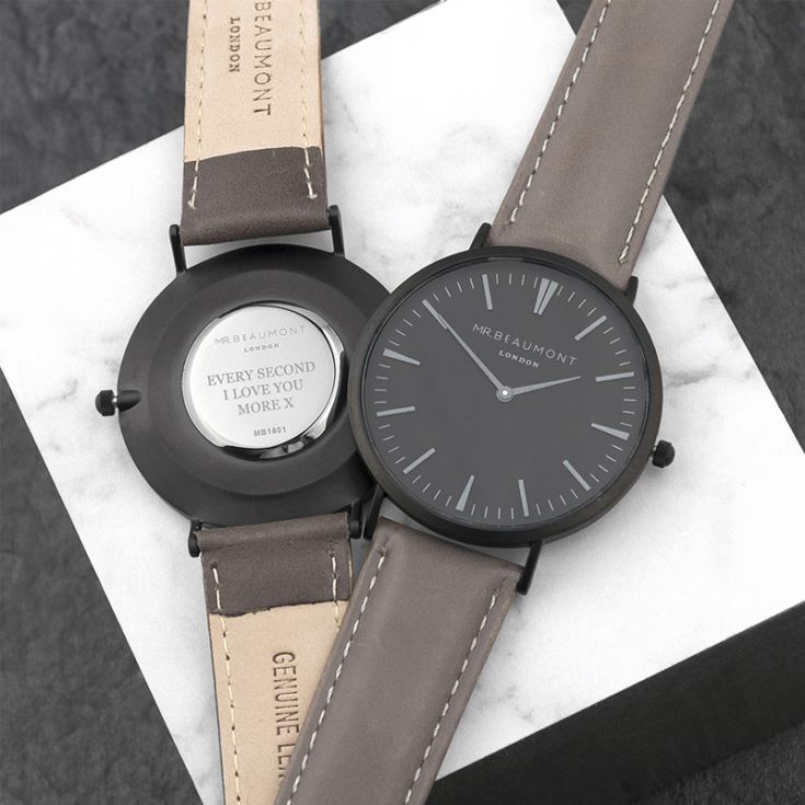 Men's Modern-Vintage Personalised Watch With Black Face in Ash product image