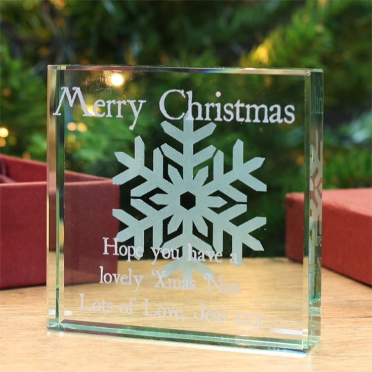 Personalised Merry Christmas Glass Keepsake product image