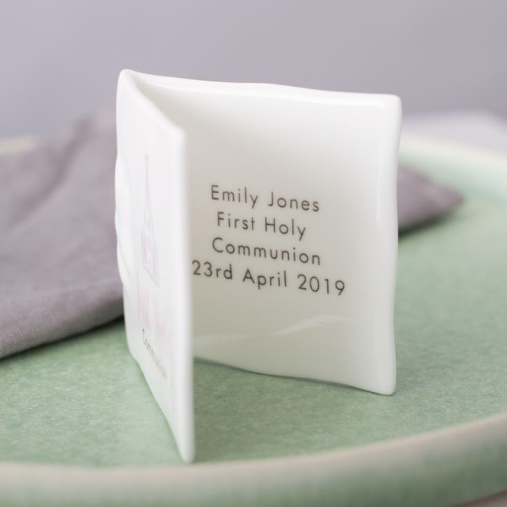 Personalised First Holy Communion Bone China Message Card - Pink product image