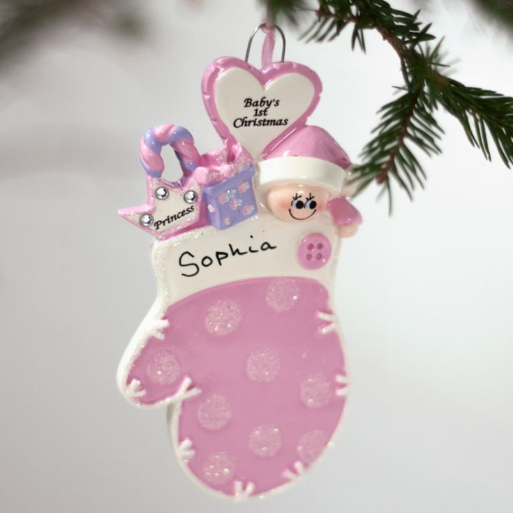 Personalised Baby's 1st Christmas Mitten Pink Hanging Ornament product image