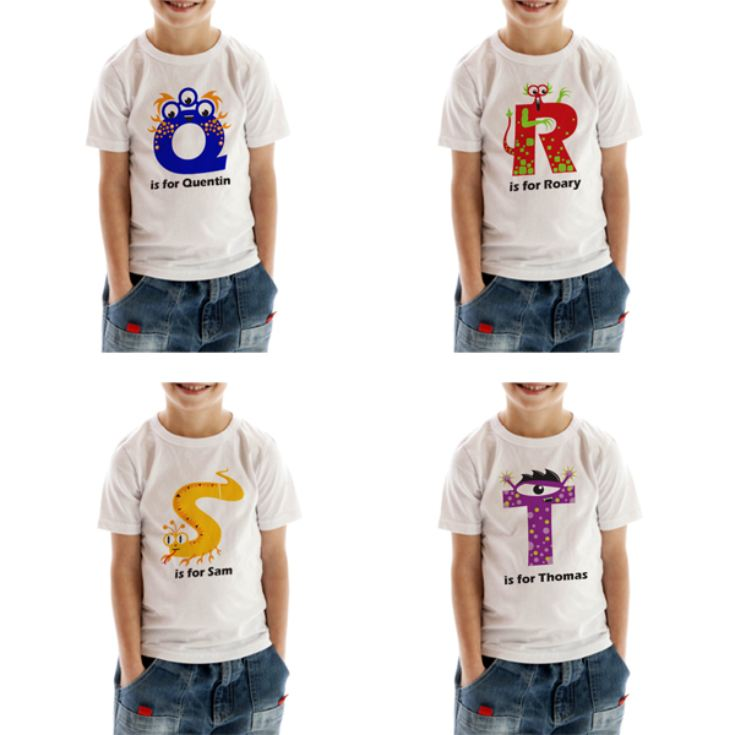 Personalised Children's Alphabet Monster T-Shirt product image
