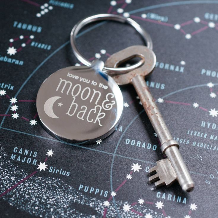 Engraved Moon & Back Keyring product image