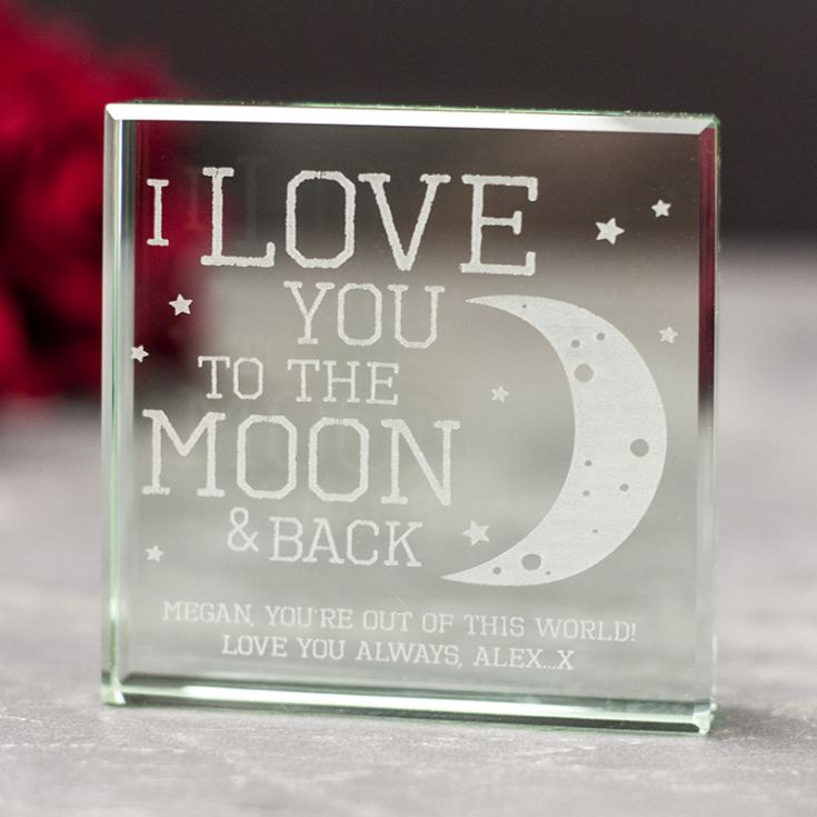 Personalised I Love You To The Moon And Back Glass Keepsake product image