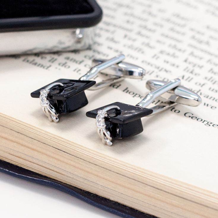 Graduation Mortar Board Hat Cufflinks In Personalised Chrome Box product image