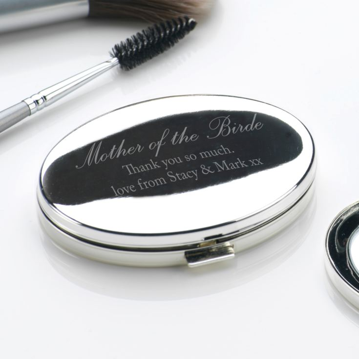 Engraved Mother Of The Bride Oval Compact Mirror product image