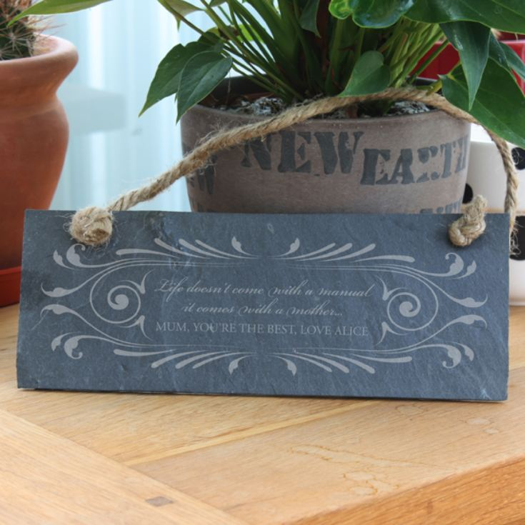 Personalised Life Doesn't Come With A Manual Hanging Slate Plaque product image