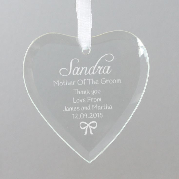 Personalised Mother Of The Groom Hanging Glass Heart product image