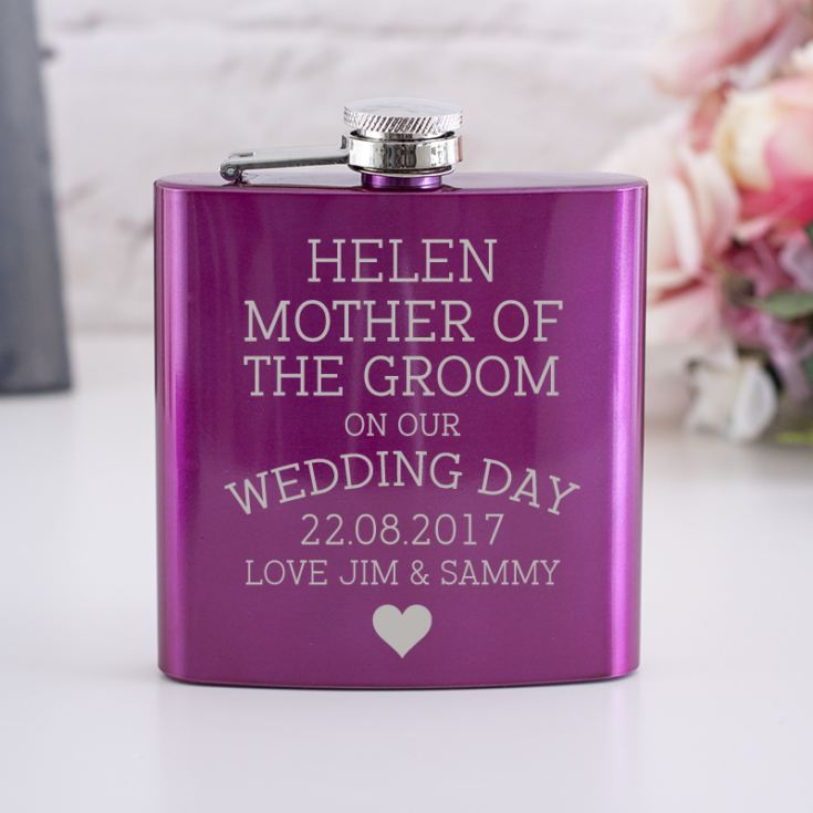 Personalised Pink Mother Of The Groom Hip Flask product image