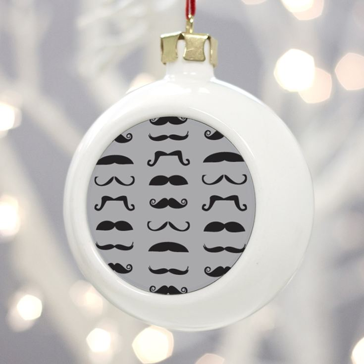 Personalised Moustache Christmas Bauble product image