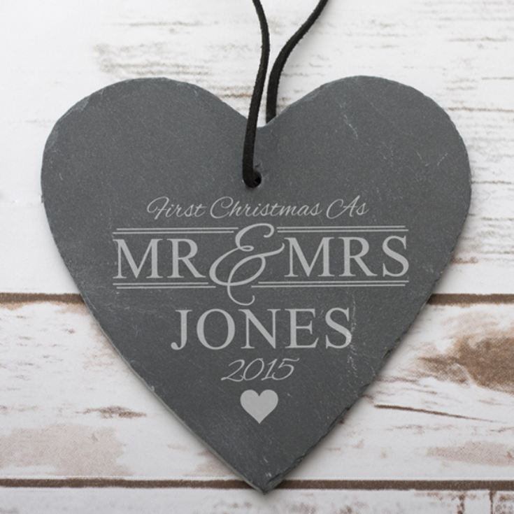 Personalised Mr and Mrs First Christmas Slate Hanging Heart product image