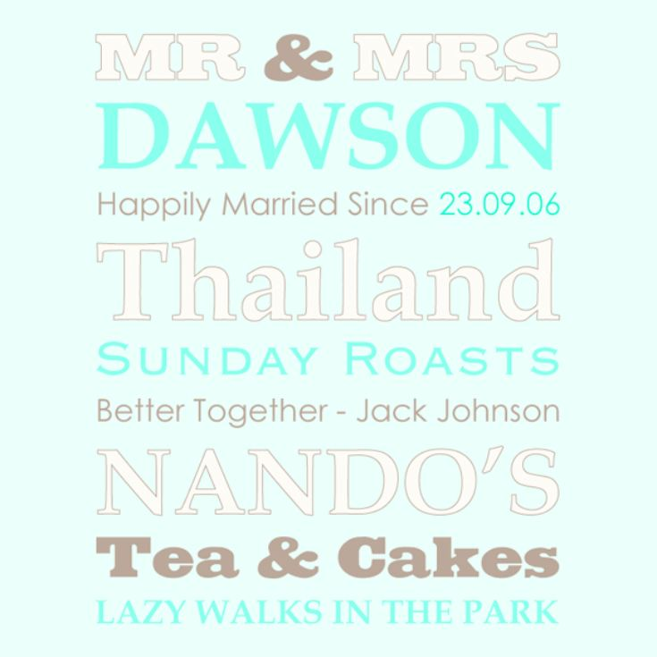 Personalised Our Favourite Things - Mr & Mrs Framed Print product image