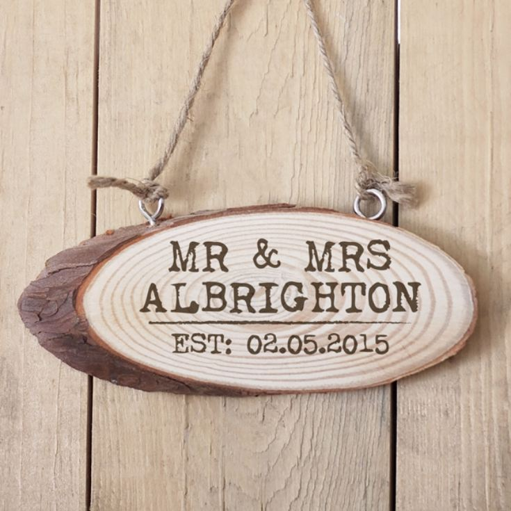 Personalised Mr and Mrs Established Wooden Hanging Plaque product image