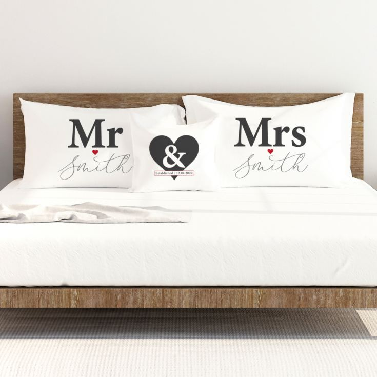 Personalised Mr & Mrs Pillowcase & Cushion Set product image