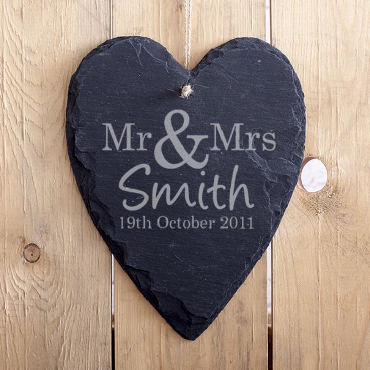 Personalised Mr & Mrs Slate Heart product image