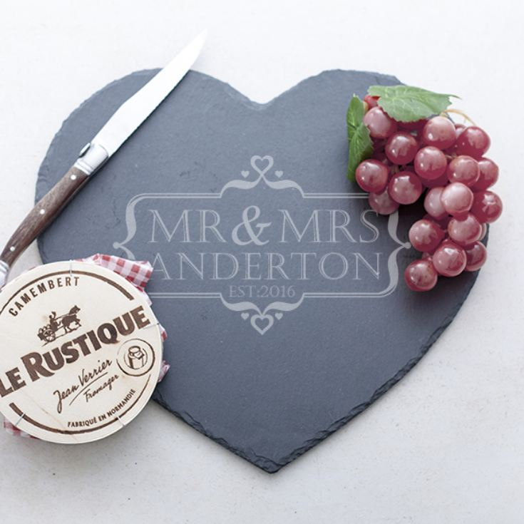 Personalised Mr & Mrs Heart Slate Cheese Board product image