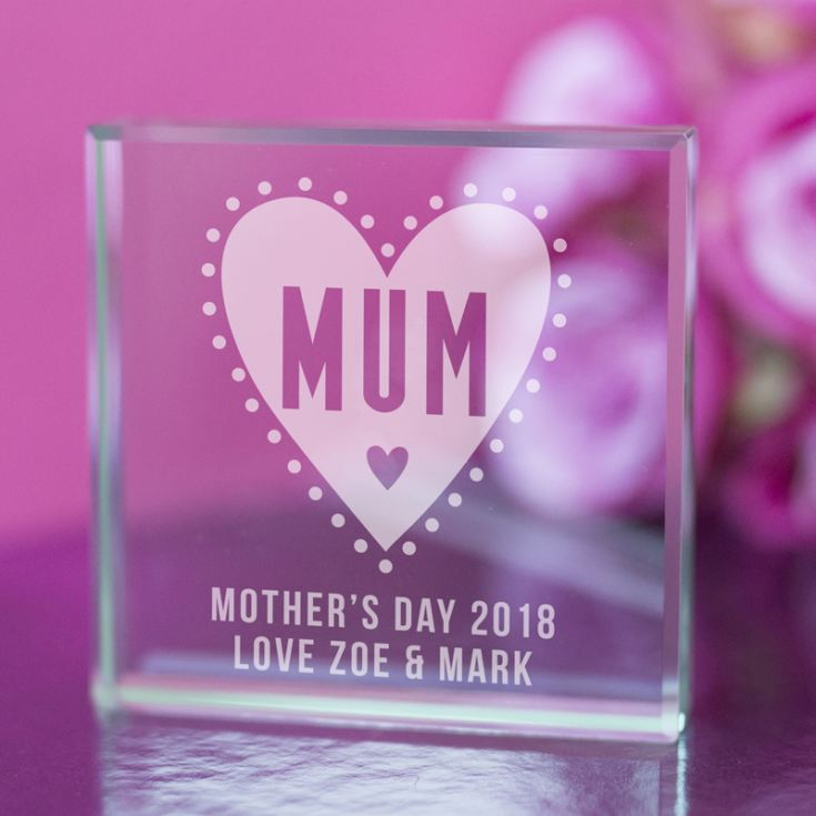 Personalised Mum Glass Keepsake With Heart product image