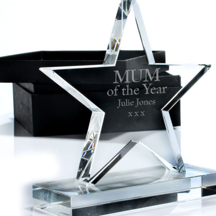 Mum of the Year Personalised Crystal Star Award product image