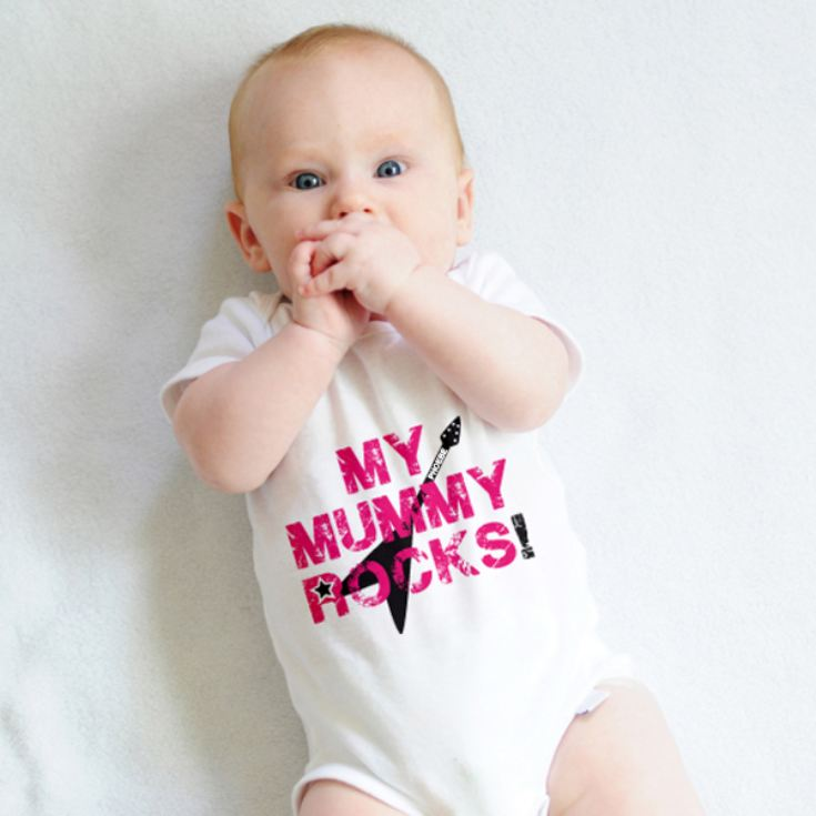 Personalised My Mummy Rocks Baby Grow product image