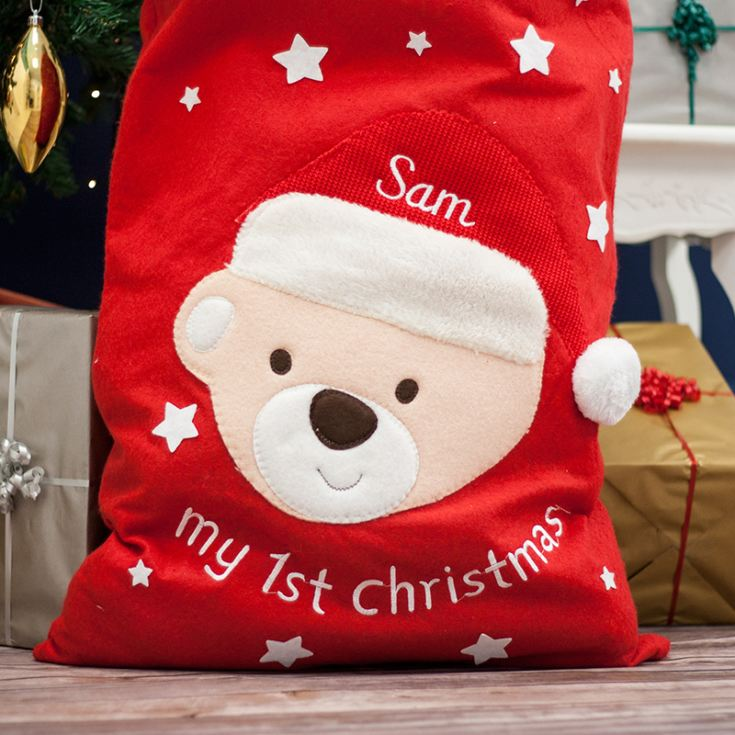 My First Christmas Personalised Embroided Teddy Sack product image