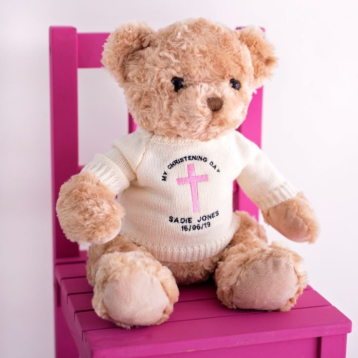 Personalised Embroidered Christening Teddy Bear product image