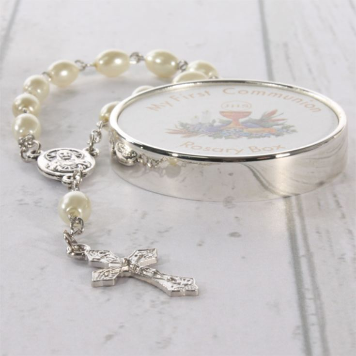First Holy Communion Trinket Box with Rosary Beads product image