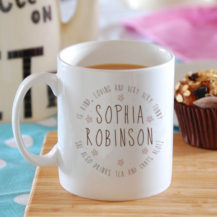 Personalised Name Mug With Floral Detail product image