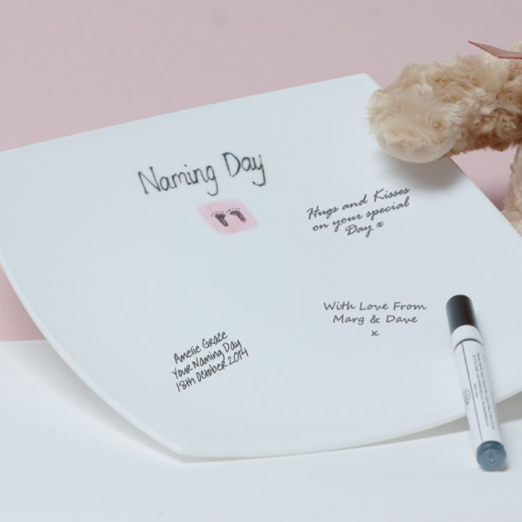 Naming Day Signature Plate - Pink product image