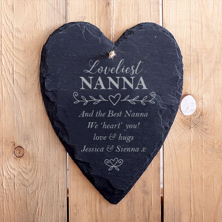 Personalised Grandma Hanging Slate Heart product image