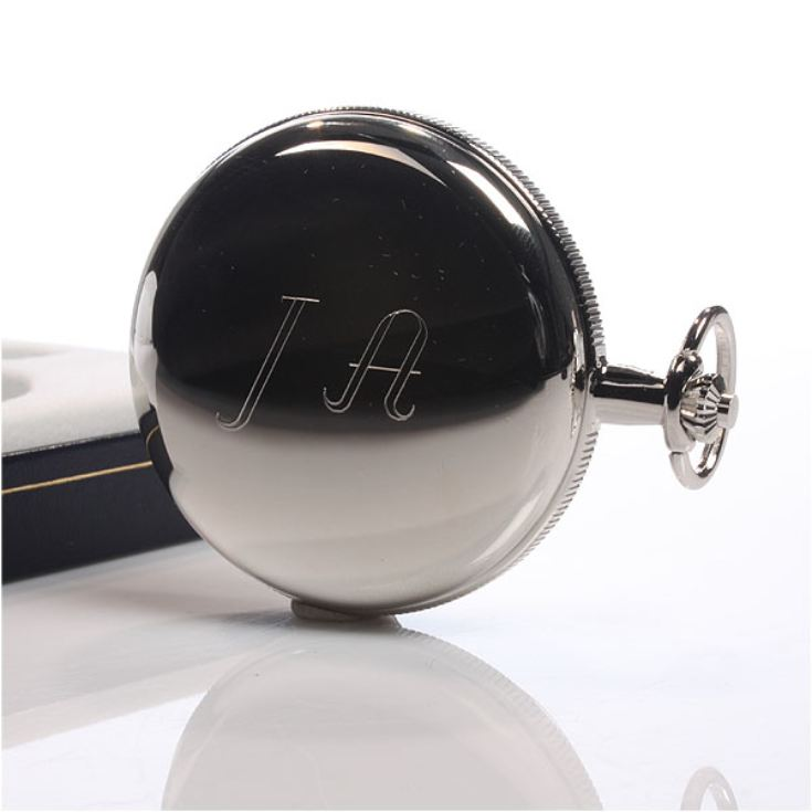 Personalised Chrome Pocket Watch With Sunburst Dial product image