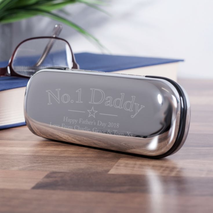 Personalised No1 Dad Chrome Glasses Case product image