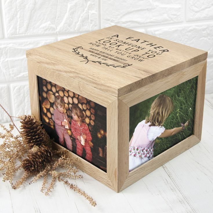 Personalised A Truly Amazing Dad Oak Photo Keepsake Box product image