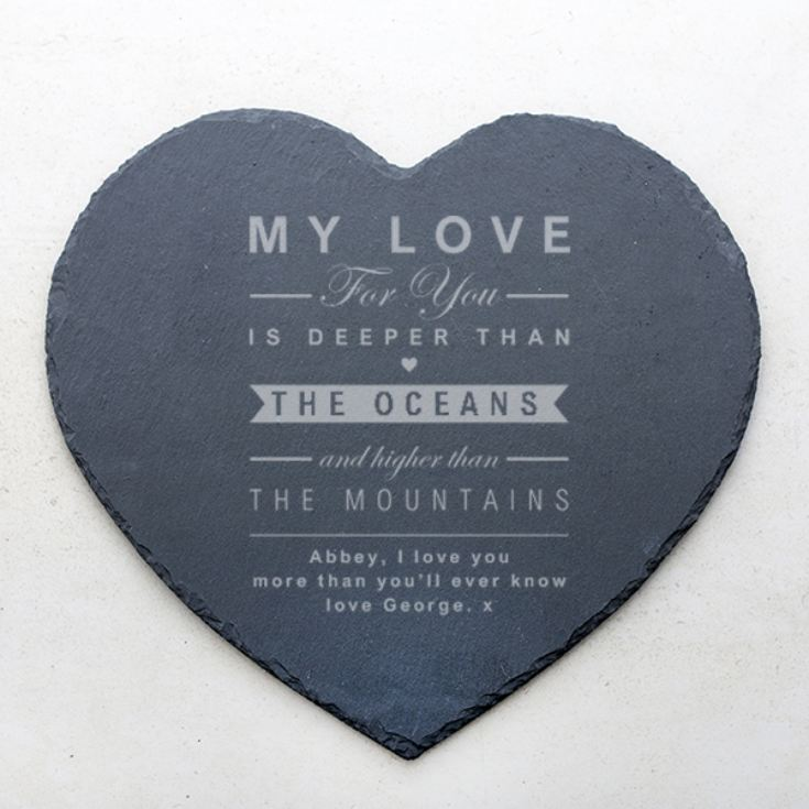 Personalised Oceans and Mountains Slate Heart Placemat product image